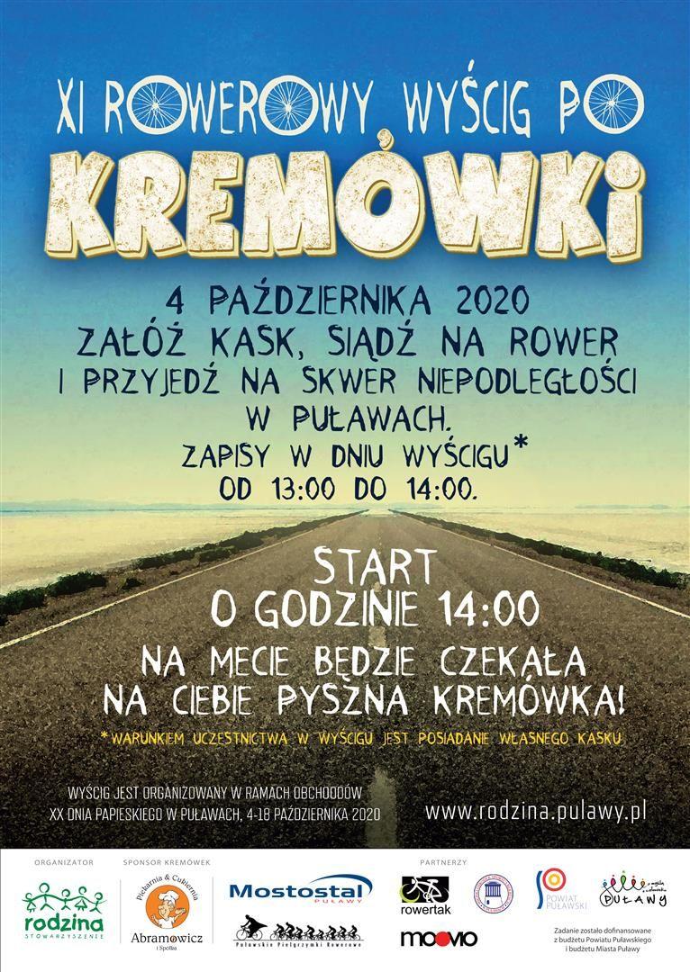 XI Rowerowy Wyścig po Kremówki 2020, niedziela 4 października 2020 r. godz. 14.00, Puławy