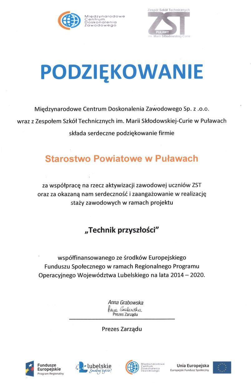 Podziękowanie dla Starostwa Powiatowego w Puławach od MCDZ Sp. z o.o. i ZST w Puławach za współpracę dotyczącą aktywizacji zawodowej uczniów.