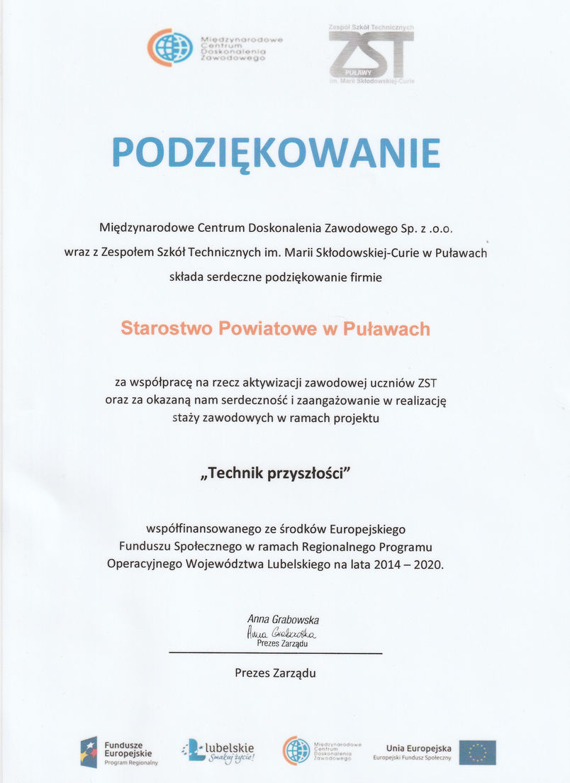 Dyplom z podziękowaniem dla Starostwa Powiatowego w Puławach za współpracę w ramach projektu