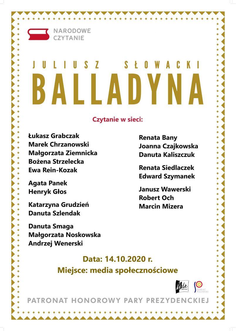 Narodowe Czytanie 2020 - Balladyna Juliusza Słowackiego 14 paźiernika 2020, media społecznościowe, patronat honorowy Pary Prezydenckiej