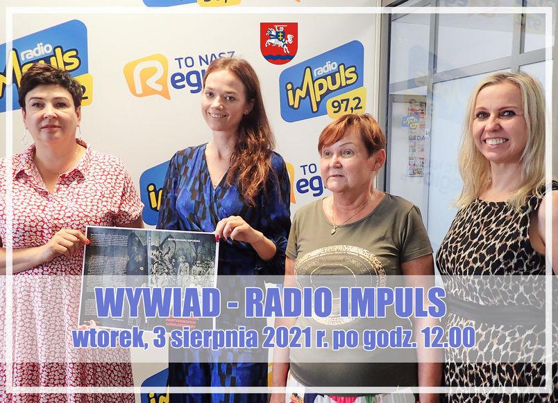Wnętrze studia nagrań z ludźmi, wywiad Radio Impuls, wtorek 3 sierpnia 2021 po godz. 12.00
