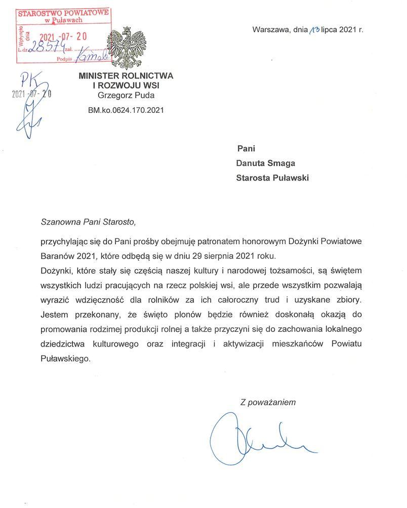 Informacja o objęciu Dożynek Powiatowych Baranów 2021 patronatem honorowym Ministra Rolnictwa i Rozwoju Wsi Grzegorza Pudy