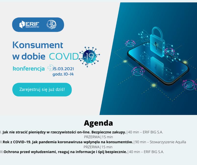 """Bezpłatna konferencja on-line """"Konsument w dobie COVID-19"""" 15 marca 2021"""