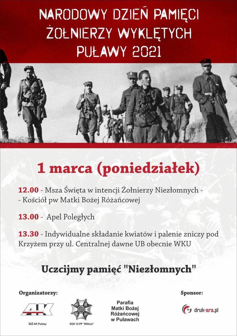 Narodowy Dzień Pamięci Żołnierzy Wyklętych 1 marca 2021 Puławy