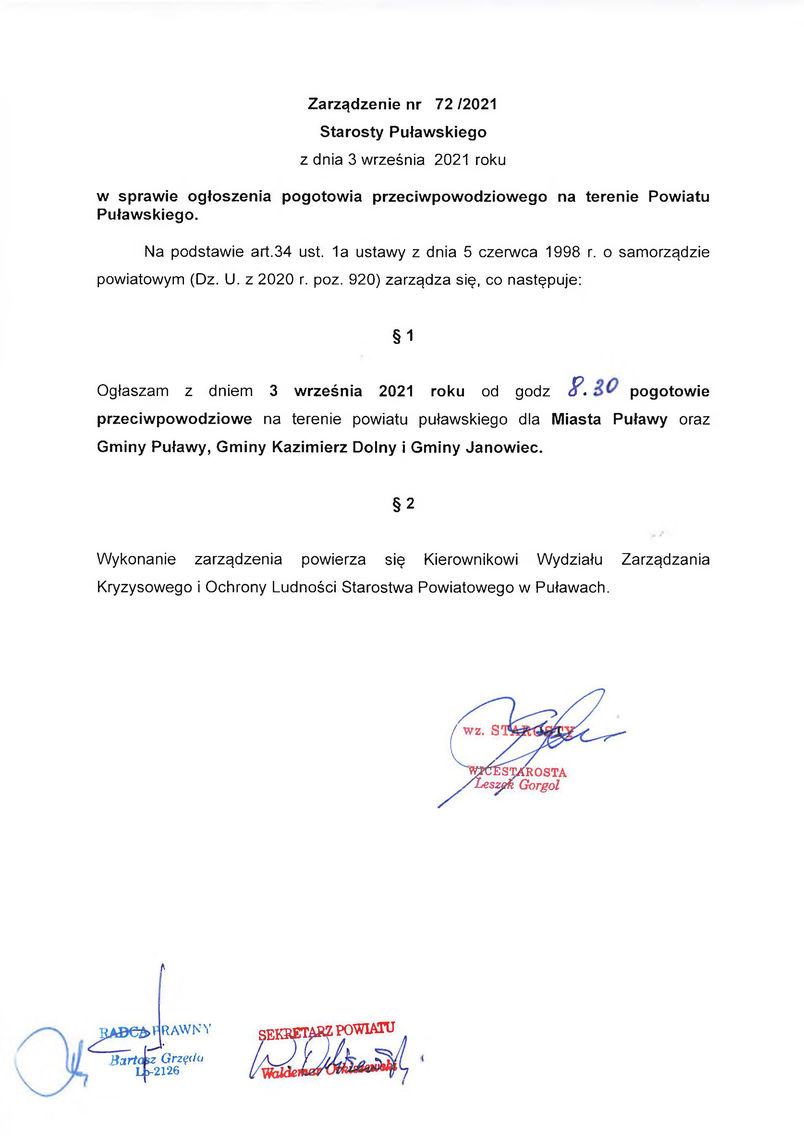 Zarządzenie Nr 72-2021 - wdc - w spr. ogłoszenia pogotowia przeciwpowodziowego na terenie Powiatu Puławskiego