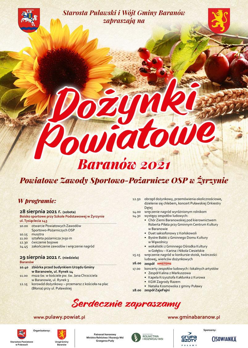 Dożynki Powiatowe Baranów 2021 28 sierpnia od godz. 10.40, Powiatowe Zawody Sportowo-Pożarnicze OSP Żyrzyn 28 sierpnia 2021 r. od godz. 10.00