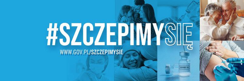 Banner z odnośnikiem do strony internetowej o szczepieniach.