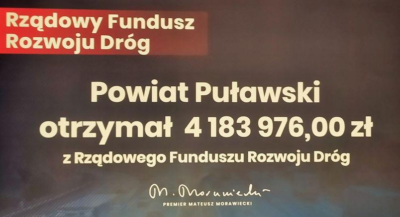 Tablica informacyjna dotycząca dofinansowania z Rządowego Funduszu Rozwoju Dróg