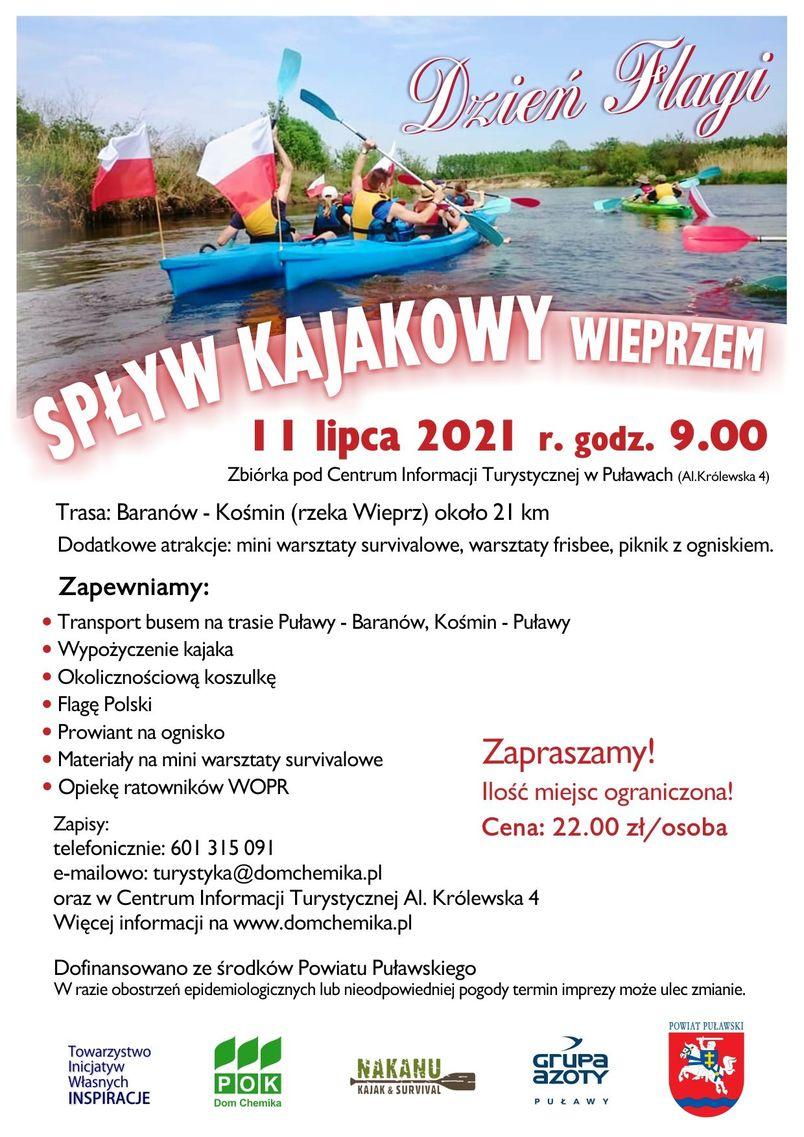 Spływ Kajakowy Baranów - Kośmin. 11 lipca 2021 r. , zbiórka godz. 9.00 Al. Królewska 4.