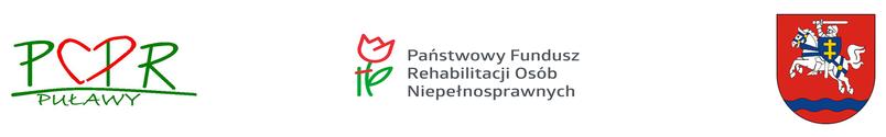 LOga: PCPR w Puławach, Państwowego Funduszu Rehabilitacji Osób Niepełnosprawnych, herb powiatu puławskiego