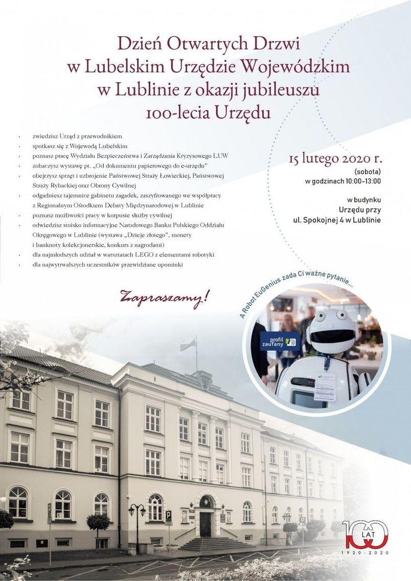Plakat - Dzień Otwartych Drzwi w Lubelskim Urzędzie Wojewódzkim