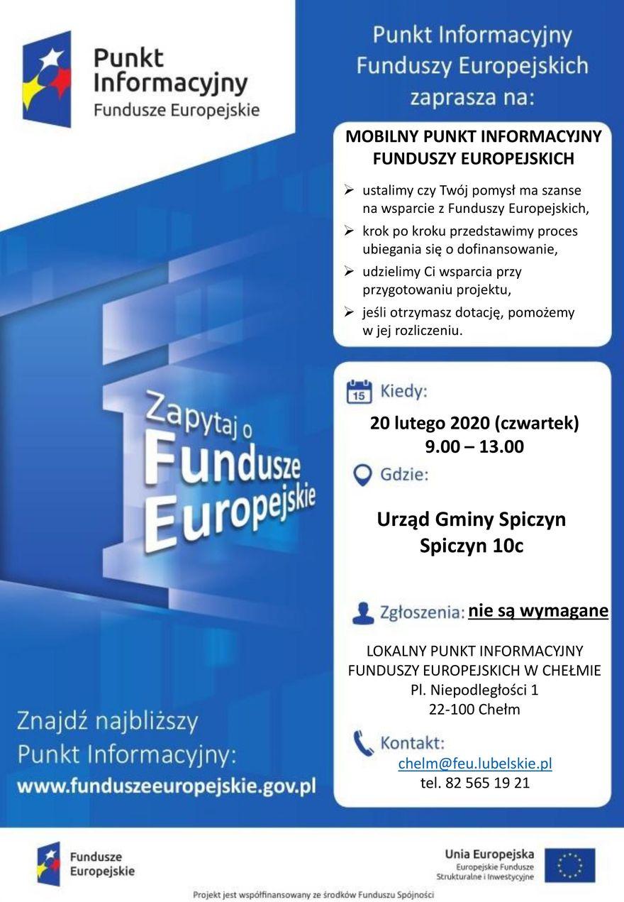 Plakat - MOBILNY PUNKT INFORMACYJNY FUNDUSZY EUROPEJSKICH