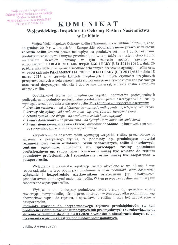 Plik jpg - Komunikat Wojewódzkiego Inspektoratu Ochrony Roślin i Nasiennictwa w Lublinie
