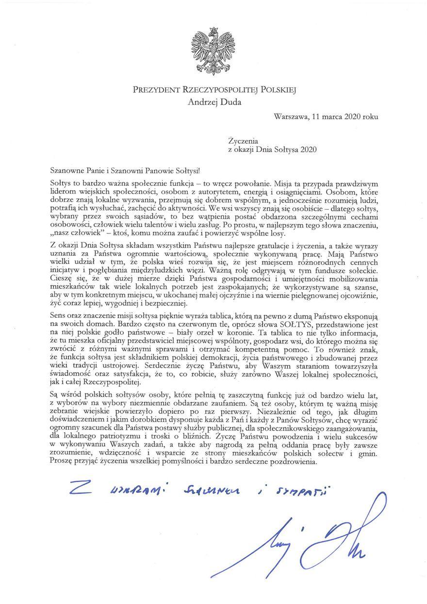 Plik jpg - List Prezydenta Rzeczypospolitej Polskiej Andrzeja Dudy
