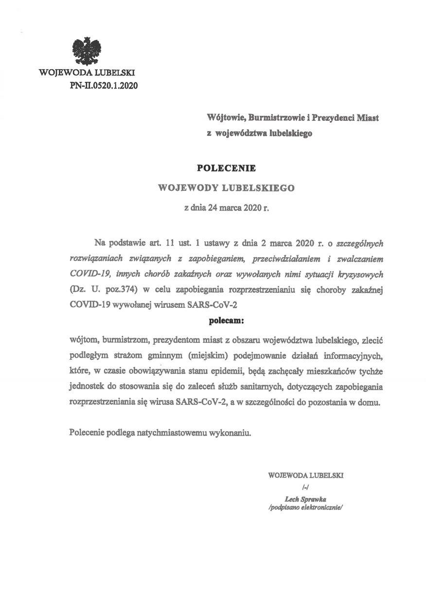 Plik jpg - Polecenie Wojewody Lubelskiego z dnia 24 marca 2020 r.