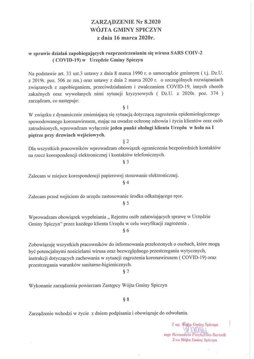 Plik jpg - Zarządzenie Nr 8.2020 Wójta Gminy Spiczyn z dnia 16 marca 2020 r.
