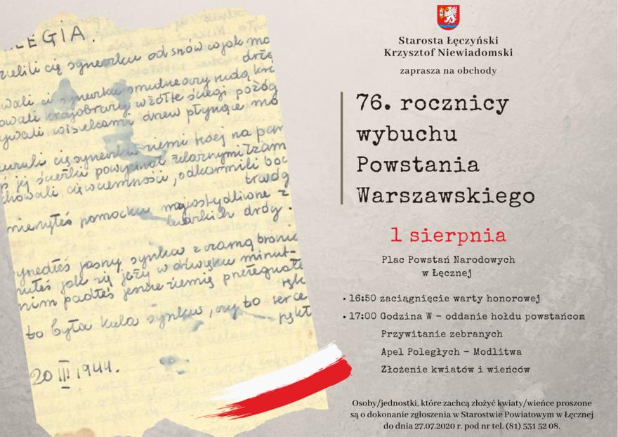 plakat z okazji rocznicy wybuchu powstania warszawskiego