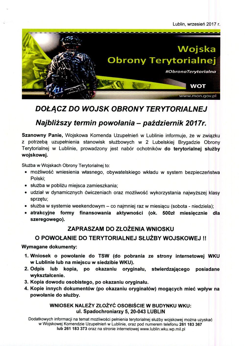 Dołącz do Wojsk Obrony Terytorialnej