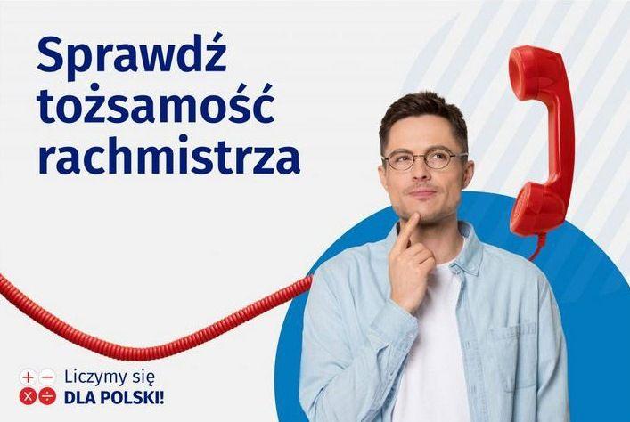 Baner z informacją Sprawdź tożsamość rachmistrza +- Liczymy się  DLA POLSKI!