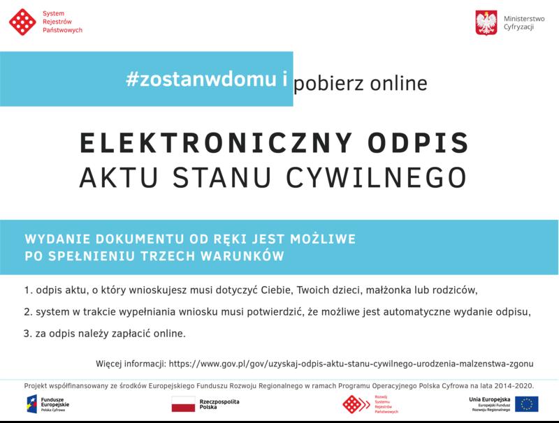 Plakat - Elektroniczny odpis aktu stanu cywilnego