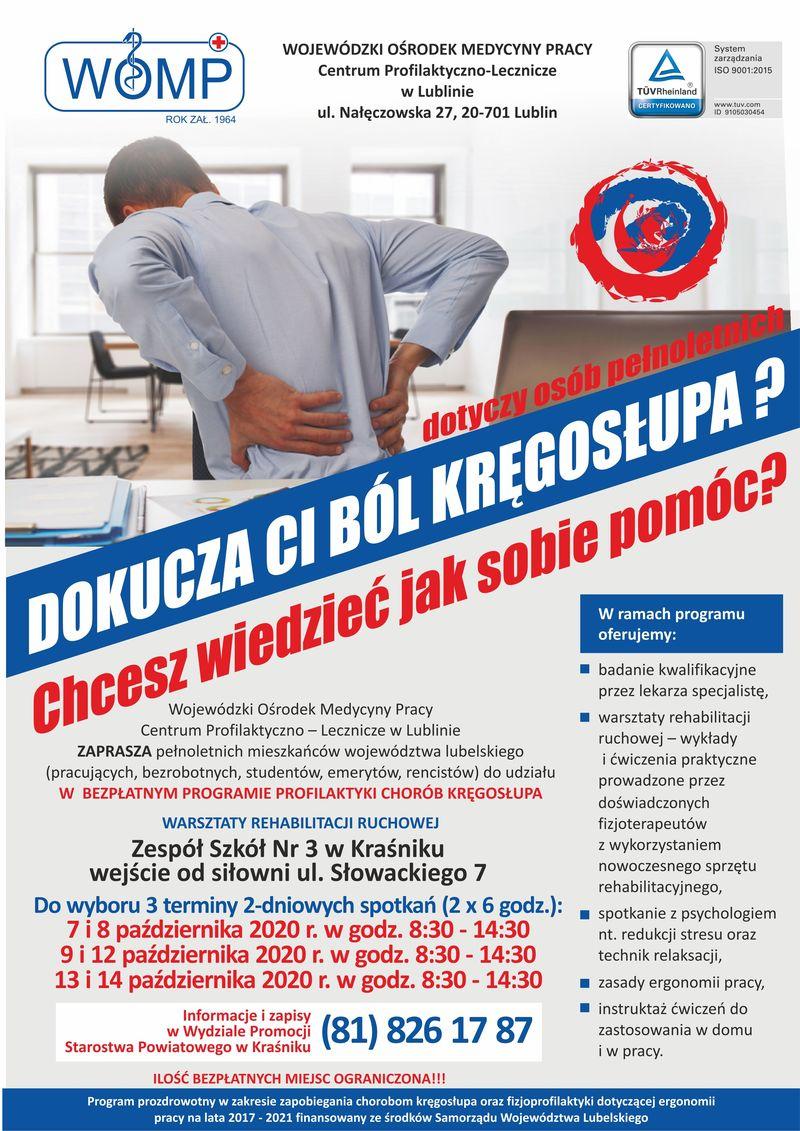 plakat: profilaktyka kręgosłupa