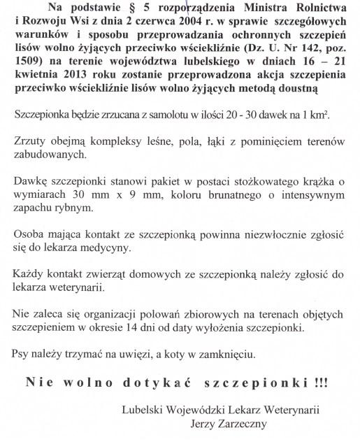 Uwaga szczepienie lisów