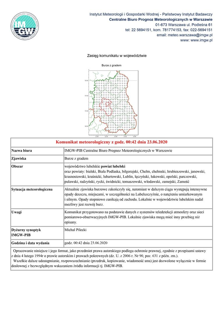 Komunikat meteorologiczny z godz. 00:42 dnia 23.06.2020