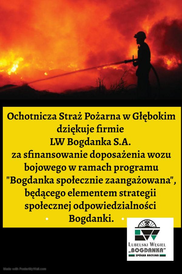 Plakat- Podziękowania dla LW Bogdanka S.A.