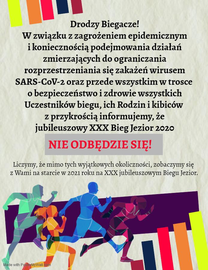 XXX Jubileuszowy Bieg Jezior odwołany- plakat