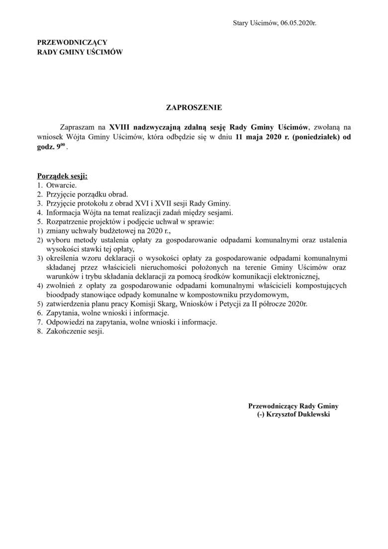 Zawiadomienie XVIII sesja Rady Gminy Uścimów VIII Kadencji 2018 – 2023
