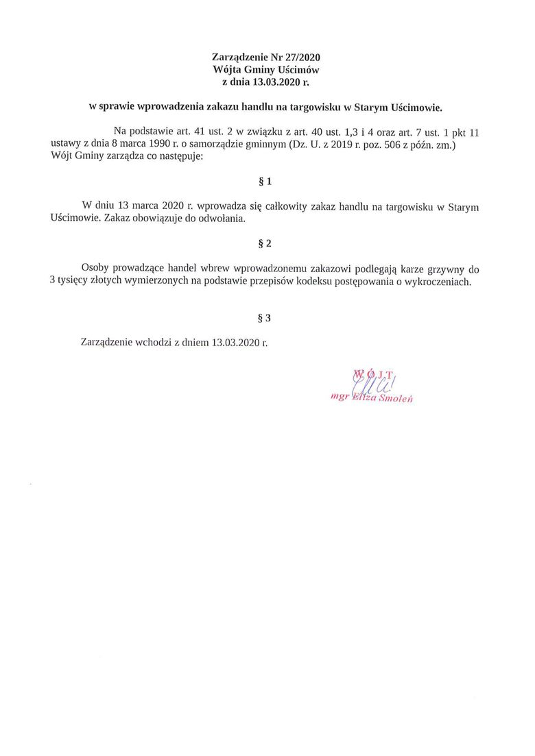 Plik jpg - Zarządzenie Nr 27/2020 Wójta Gminy Uścimów z dnia 13.03.2020 r.