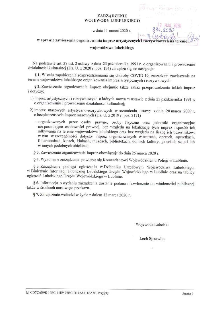 Plik jpg - Zarządzenie Wojewody Lubelskiego z dnia 11 marca 2020 r. Zarządzenie Wojewody Lubelskiego z dnia 11 marca 2020 r.