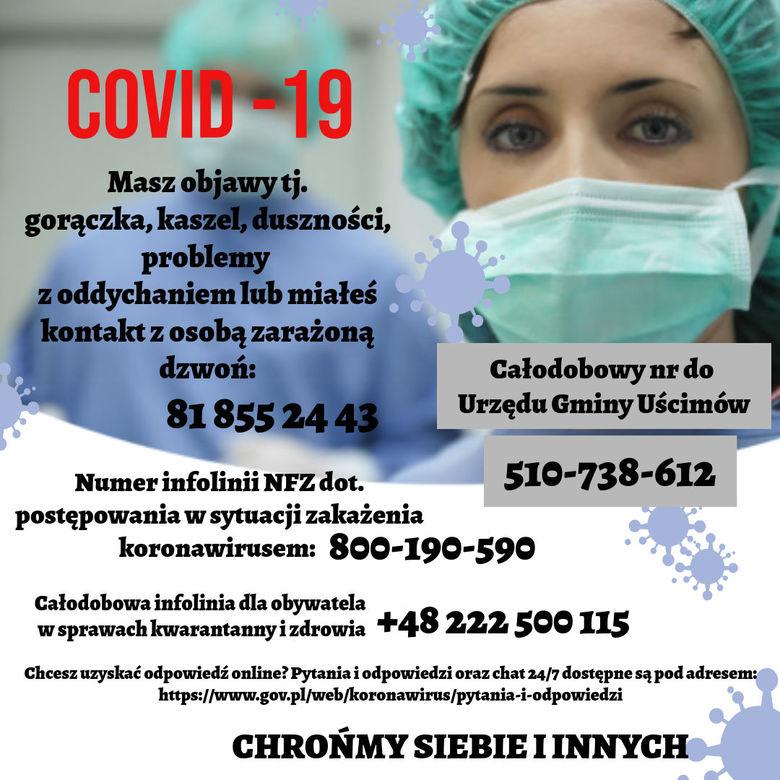 plakat- masz objawy COVID-19 zadzwoń