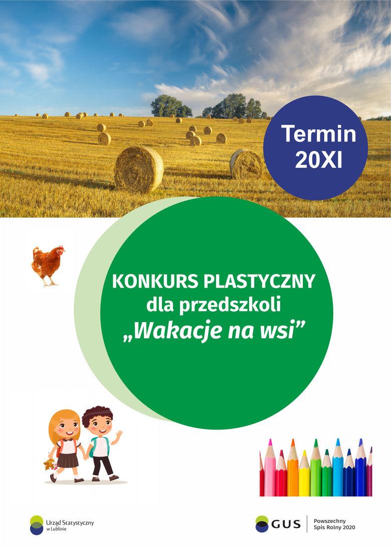 """PLAKAT KONKURS PLASTYCZNY dla przedszkoli """"Wakacje na wsi"""