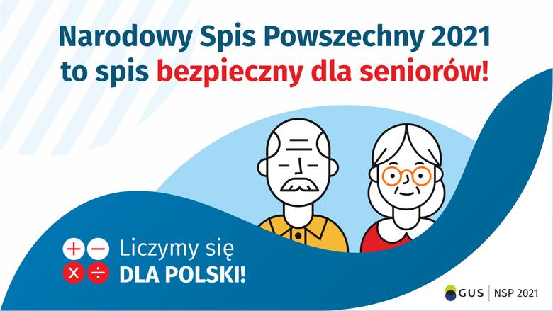 Grafika: Narodowy Spis Powszechny 2021 to spis bezpieczny dla seniorów!