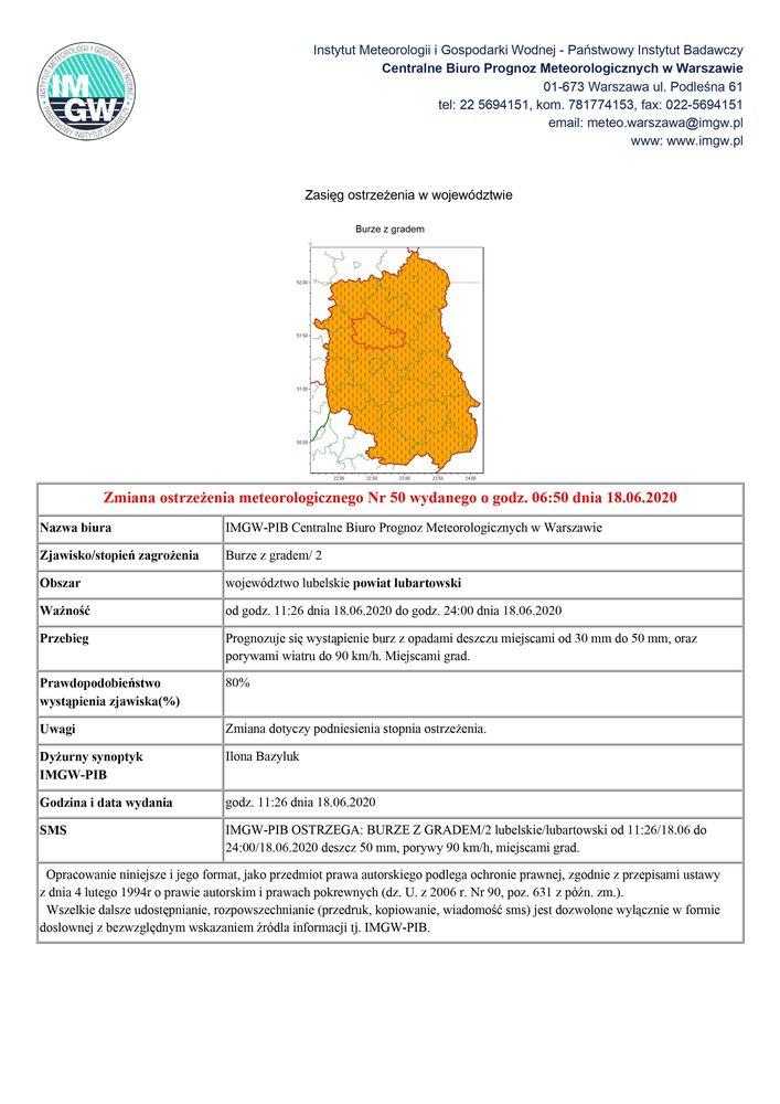 Zmiana ostrzeżenia meteorologicznego Nr 50 wydanego o godz. 06:50 dnia 18.06.2020