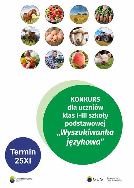 """plakat informacyjny KONKURS dla uczniów klas l-III szkoły podstawowej """"Wyszukiwanka językowa"""" Termin 25XI Uzad Statystyceny GUS Powszechny Spis Rolny 2000"""