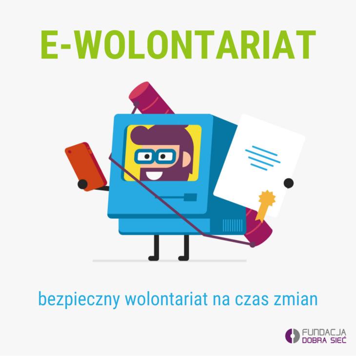 Grafika z napisem e-wolontariat