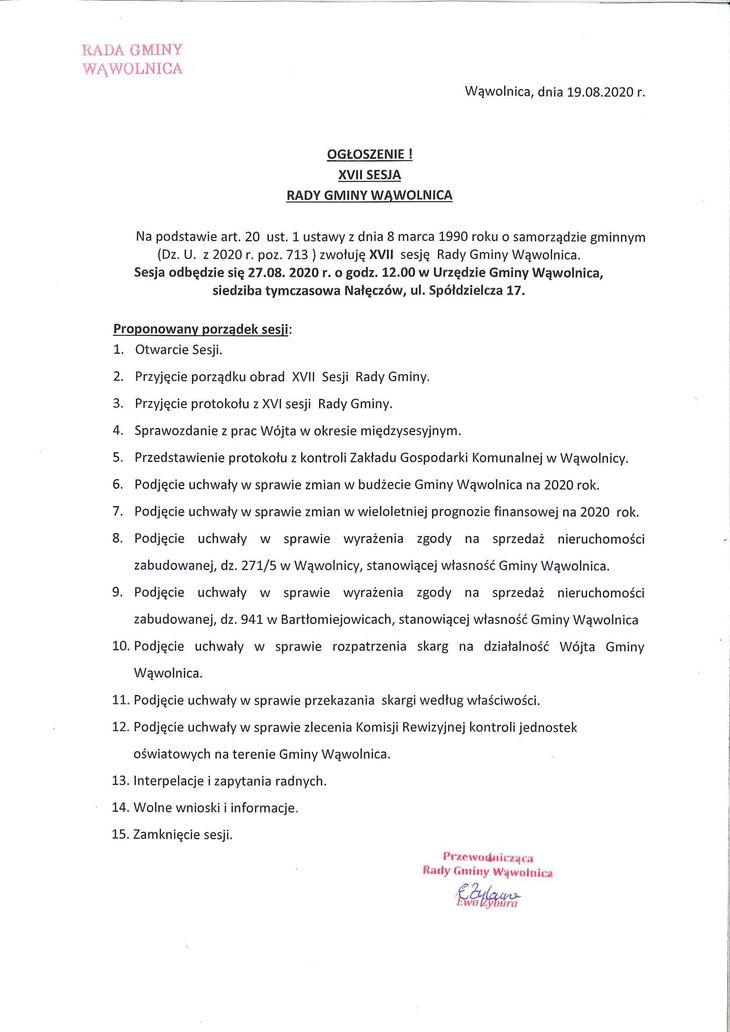 ogłoszenie o sesji rady gminy