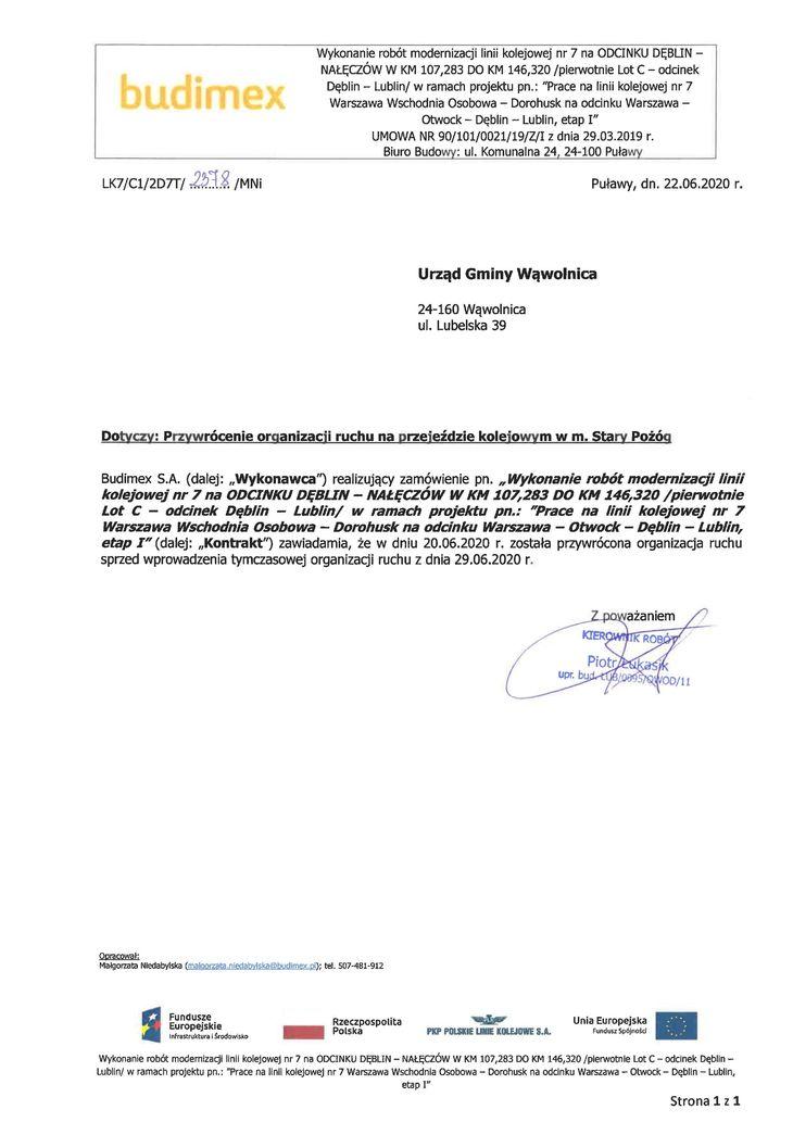 Przywrócenie organizacji ruchu na przejeździe kolejowym w m. Stary Pożóg