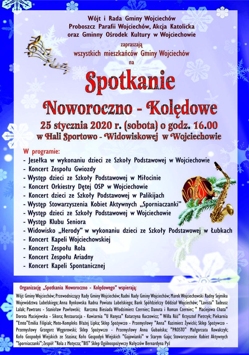 Plakat  Spotkanie Noworoczno - Kolędowe 25 stycznia 2020 r. (sobota)