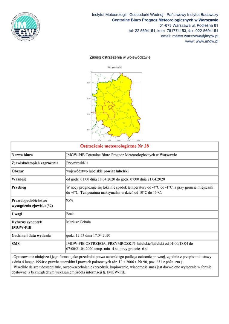 Plik jpg - Ostrzeżenie meteorologiczne Nr 28