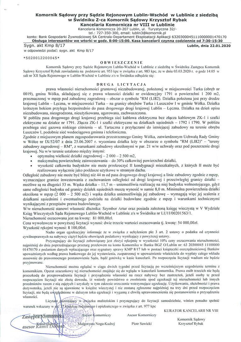 Plik jpg - Obwieszczenie o drugiej licytacji prawa własności nieruchomości