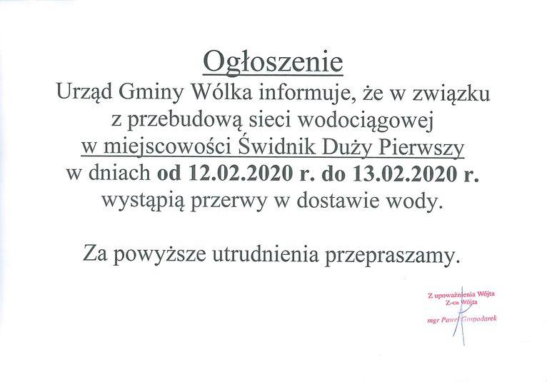 Plik jpg - Ogłoszenie - Przerwa w dostawie wody w miejscowości Świdnik Duży Pierwszy