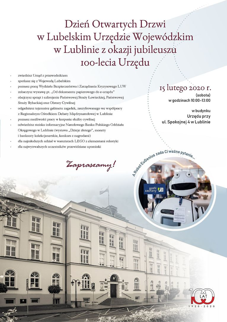 Plakat - Dzień Otwartych Drzwi w Lubelskim Urzędzie Wojewódzkim w Lublinie