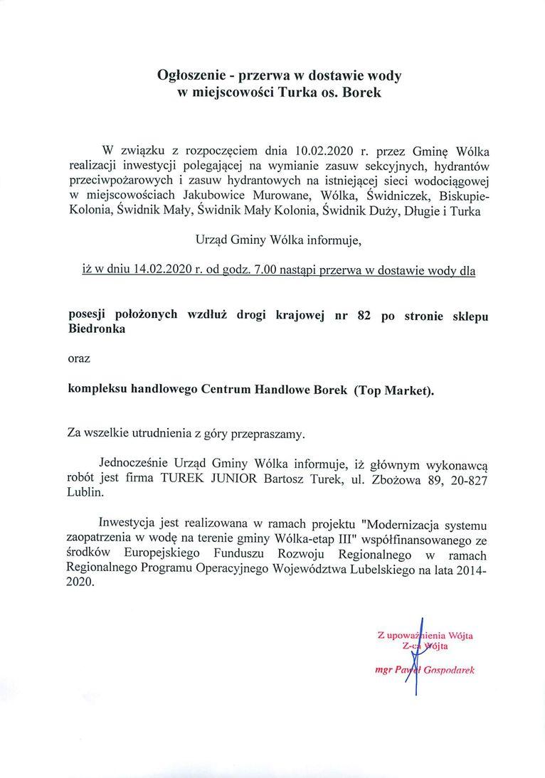 Plik jpg - Ogłoszenie - przerwa w dostawie wody w miejscowości Turka os. Borek