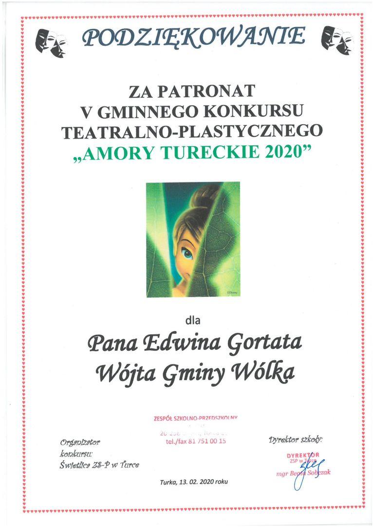 Plik jpg - Podziękowanie dla Wójta Gminy Wólka, Edwina Gortata za objęcie patronatem V Gminnego Konkursu Teatralno - Plastycznego