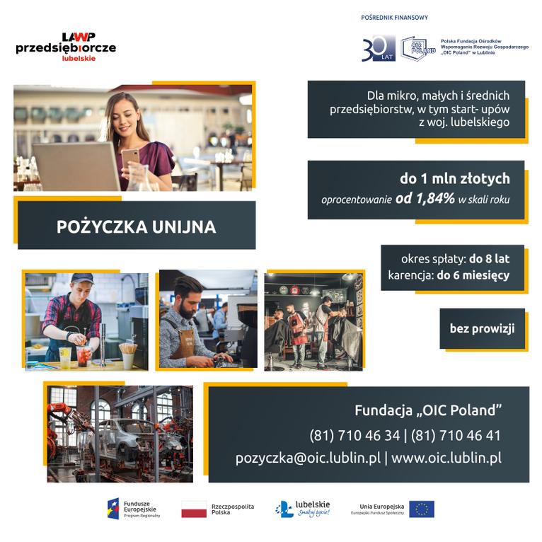 Plakat -  Preferencyjne pożyczki dla przedsiębiorców
