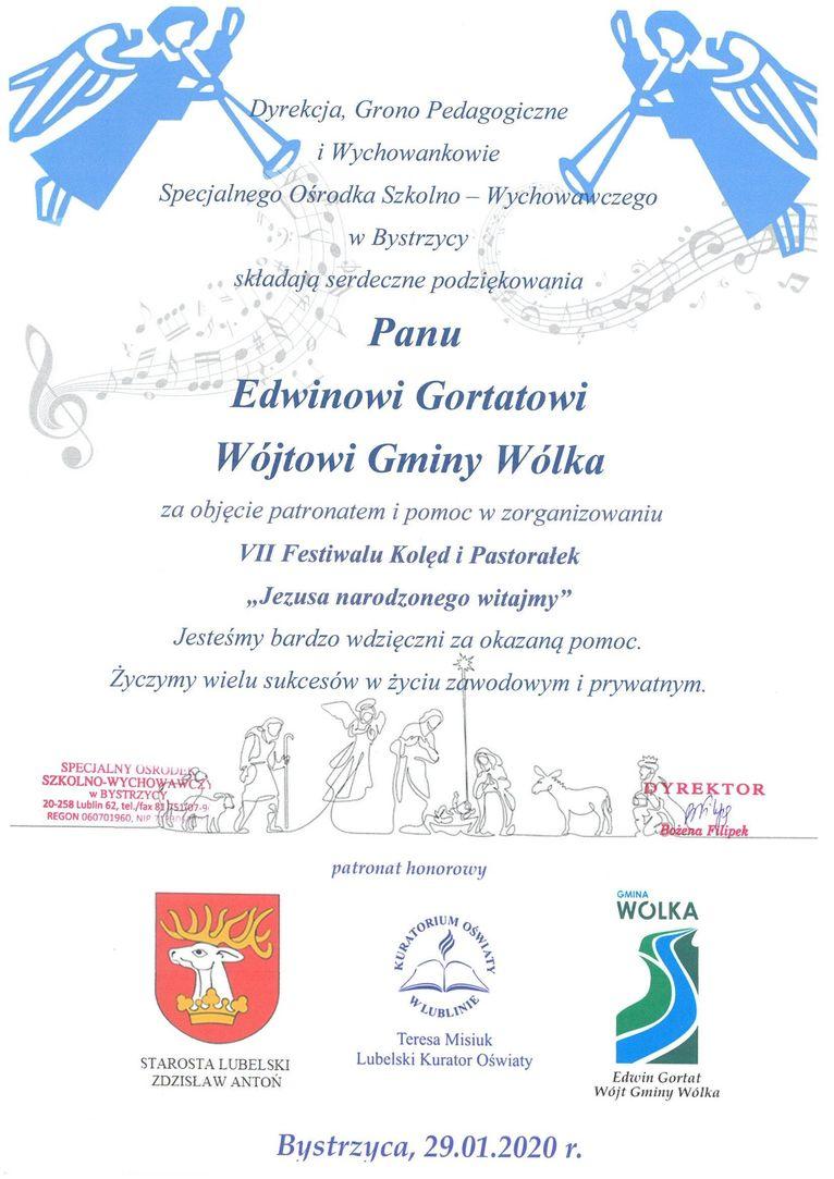 Plik jpg - Podziękowanie dla Wójta Gminy Wólka Edwina Gorta za objęcie patronatem i pomoc w organizacji VII Festiwalu Kolęd i Pastorałek