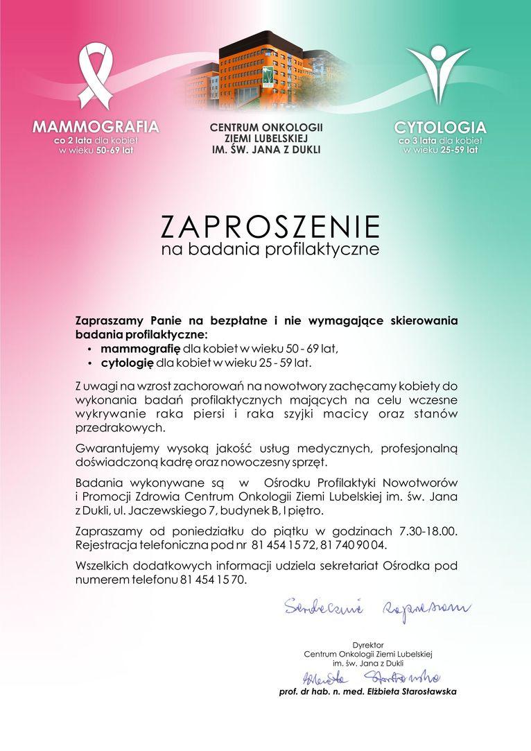 Plakat - Zaproszenie na badania profilaktyczne
